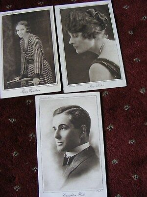 3 Early 1900's Vintage Cinema Chat Postcards Actor And Actresses