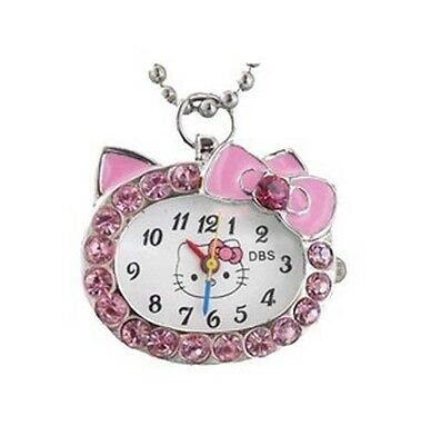 DBS Kitty Cat Crystal Analog Pendant Quartz Pocket Necklace Watch Montres Pink