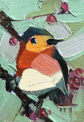 Robin no. 234 Original Bird Oil Painting by Angela Moulton ACEO Art