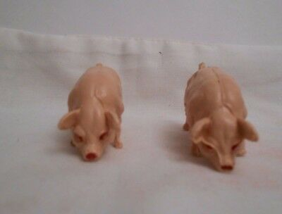 Vintage Rare Cherilea Farm Two Pigs With Red Eyes