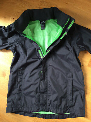 Boys North Face Showerproof Jacket Black Green Age 14-16