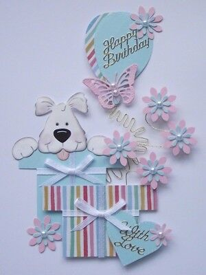 Peek A Boo Puppy Love Floral Birthday Gifts 3D Wired Card Craft Toppers