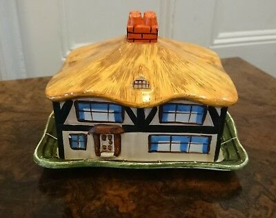 Vintage Hancock Art Deco Ivory Ware Thatched Cottage Cheese Dish C1930