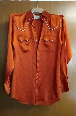 mens red/orange 'Dee Cee Brand' western square dance pearl snap front shirt 15