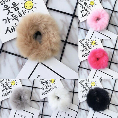 2x Faux Rabbit Fur Hair Band Elastic Rubber Bobble Pony Scrunchie Hair Accessory