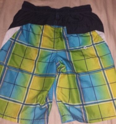Boys L 10 - 12 OP Blue White Lime Green Squares Abstract Lined Swim Trunks
