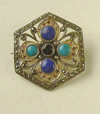 Vintage Sterling Silver Hexagon Brooch Pin- with Gemstones and Rhinestones