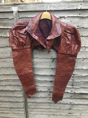 Incredible Couture Chestnut Leather Steam Punk, Elizabethan Style Jacket,sz10-12