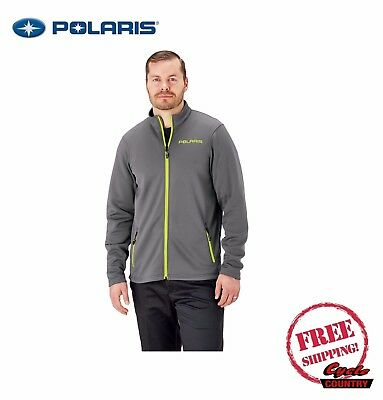 Polaris Men's Fleece Mid Layer Jacket Gray Lime Rzr Rmk Ace New Free Shipping