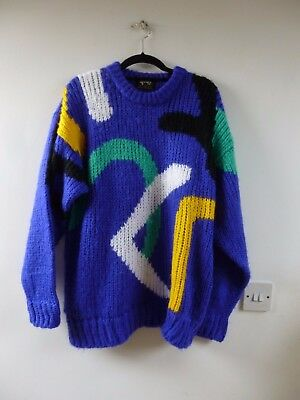 Unbranded vintage chunky knit lambswool FESTIVAL  oversized soft  jumper M