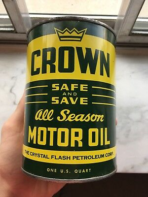 Quart Oil can metal Crown flash empty clean nice Quart can!