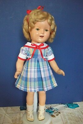 """Blue Plaid Dress for  16"""" inch  compo Shirley Temple Doll"""