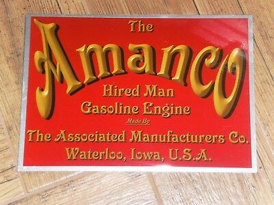 1 x AMANCO HIRED MAN DISPLAY BOARD STATIONARY ENGINE ASSOCIATED MANUFACTURERS