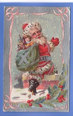 Old 1910 Embossed Postcard Father Christmas Xmas Santa Claus Chimney Sack Toys