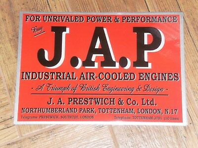 1 x J.A.P ADVERT STYLE DISPLAY BOARD STATIONARY ENGINE PRESTWICH JAP AIR COOLED