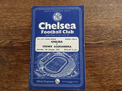 Chelsea vs Crewe Alexandra F.A. Cup  3rd Round - 7-1-1961 - Official Programme