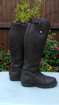 Brown Leather Mark Todd Fleece Lined Boots Size 4 Equestrian Horse Equine Tack
