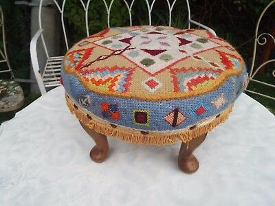 Vintage Embroidered Crewel Work Round Wooden Stool Footstool