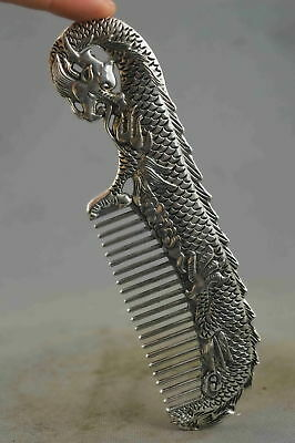 Collection Handwork Decor Old Miao Silver Carve Dragon Bite Wealth Exorcism Comb