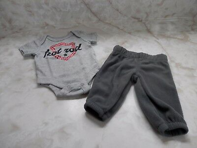 6ff8eae3f Nb Baby Boy HOT ROD Short Sleeve Gray Romper Carters Fleece Stretch Pants  Outfit