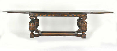 Carved Oak Table | Draw leaf Refectory Table | Antique Table Scotland 1930 |B850