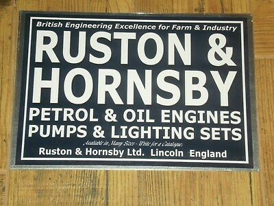 1 x RUSTON & HORNSBY BLUE ADVERT STYLE DISPLAY BOARD STATIONARY ENGINE