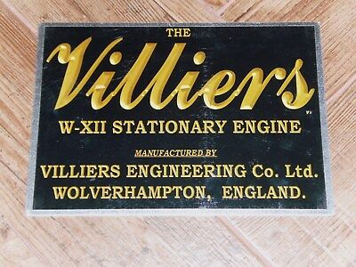 1 x VILLIERS W-XII BLACK DISPLAY BOARD STATIONARY ENGINE 2 STROKE WATER COOLED