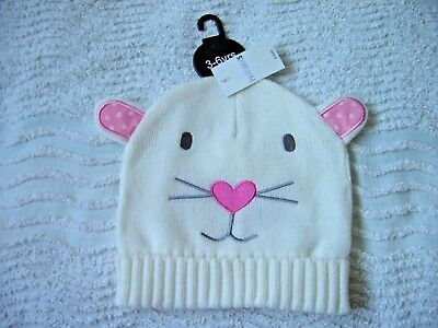 Bnwt Girls White Hat 3-6 Years With Cat Detail With Ears.