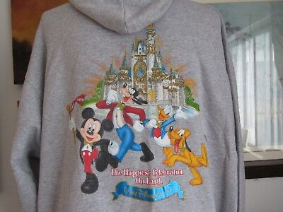 Walt Disney World Hoodie Adult The Happiest Celebration On Earth 2XL Gray