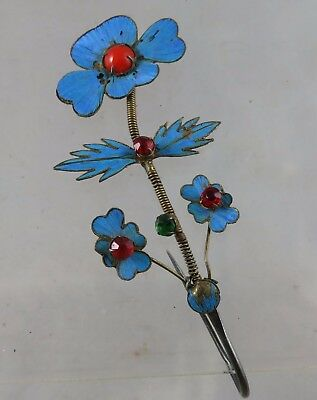 Antique Chinese Kingfisher Feather Long Floral Hair Stick Pin Ornament