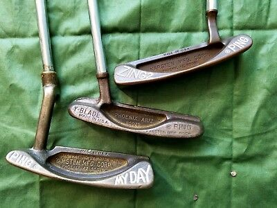 Lot of 3 Vintage Ping Putters, Ping my day, vintage Y-blade, Ping zing 2, LH, RH