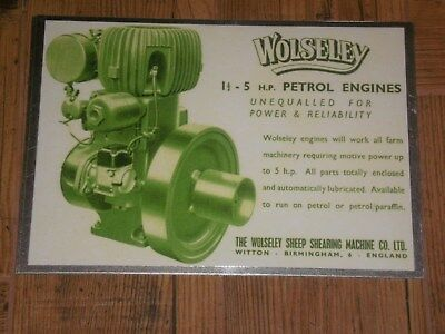 1 x WOLSELEY WD 1.5 -5hp ADVERT STYLE DISPLAY BOARD STATIONARY ENGINE