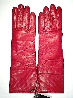 Saks Fifth Avenue Red Leather Gauntlet Gloves ~ Size 6 ~ Cashmere Lined ~ Italy