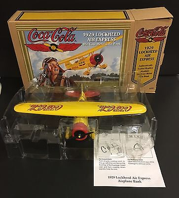 Die-Cast Metal Airplane Coin Bank 1929 Coca-Cola Lockheed Air Express New In Box