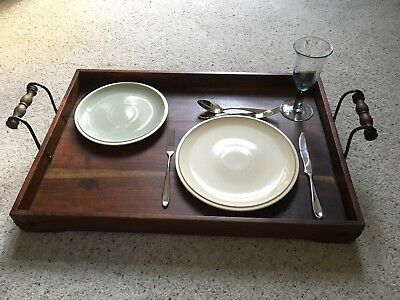 Beautiful Antique Vintage Mahogany Butler'S Serving Tray, Twin Handled