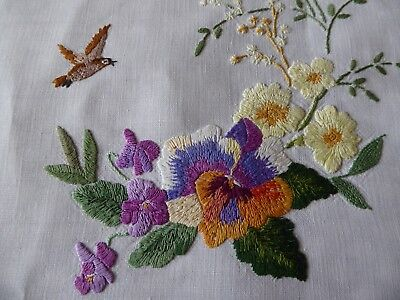 Vintage Hand Embroidered Traycloth/ Table Topper  - Fabulous Floral Work & Bird