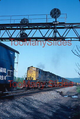 Original slide- D&H RS11 #5001 & Train Approaching CR Caboose At Stoney,PA.