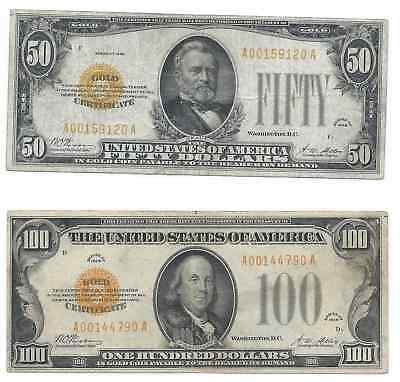 1928 $50 & $100.00 Gold Certificate Nice Notes