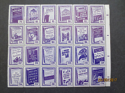 No--1---BOOK  ADVERTISING   STAMPS  --BLOCK  OF  24  STAMPS  --MINT WITH GUM