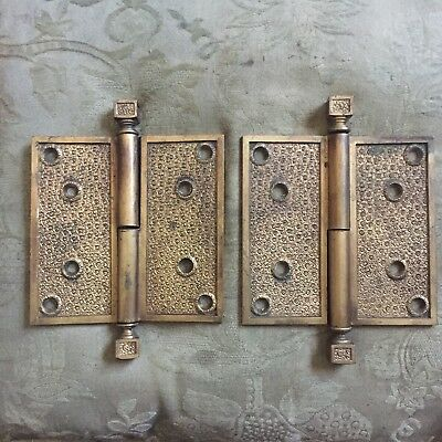 """Antique Pair Of Large Hinges Russell & Erwin Damascene Solid Brass Hinge 5""""x 5"""""""