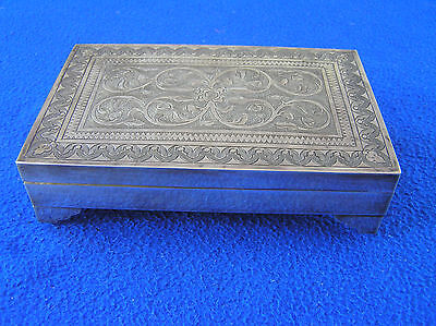 900 silver Eastern highly engraved cigarette box/case, Persian?