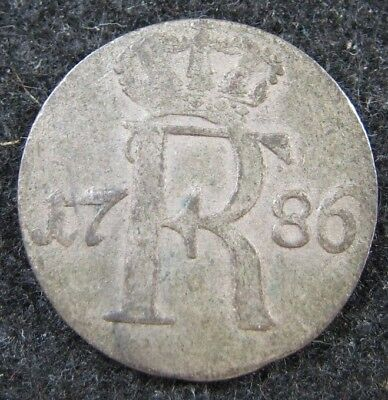 1786A German State Prussia 1/24 Thaler Silver Higher Grade Coin !