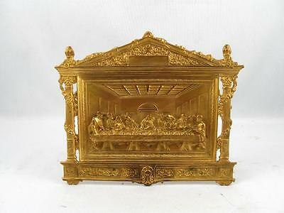 Vintage Last Supper Gilded Brass Wall Or Desk Plaque Made In Usa