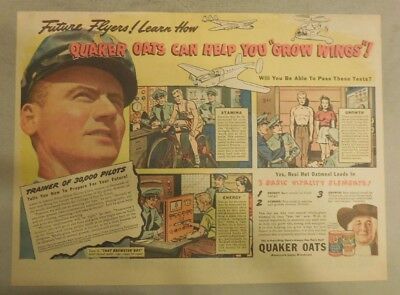 """Quaker Cereal Ad: """"Quaker Oats Grow Pilots Wings"""" 1930's Size: 11 x 15 inches"""