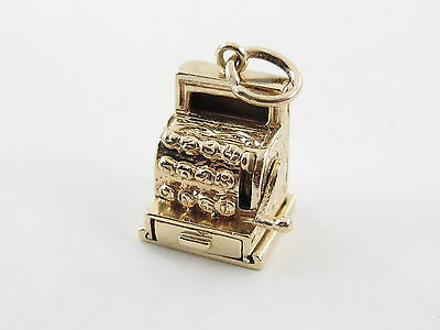 Vintage 14k Yellow Gold 3D Cash Register Charm opens