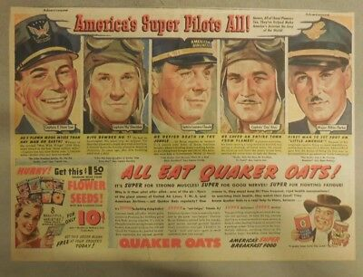"""Quaker Cereal Ad: """"America's Super Air-Pilots All!"""" 1940's Size: 11 x 15 inches"""