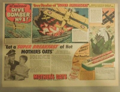 """Quaker Cereal Ad: """"Super Americans"""" Dive Bomber #1 from 1940's 11 x 15 inches"""