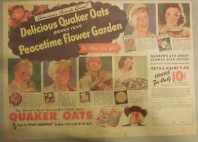 """Quaker Cereal Ad: """"Peace Time Flower Garden"""" Premium from 1940's 11 x 15 inches"""