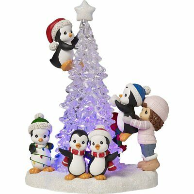 Precious Moments Tree-mendous Fun Girl With Penguins LED Lighted Christmas Tree