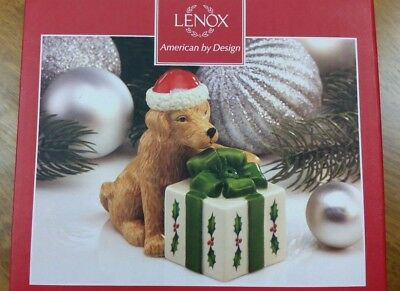 "LENOX ""HOLIDAY DOG AND PRESENT SALT & PEPPER SHAKERS"" -- NEW IN BOX Christmas"